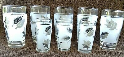 Vintage Libbey Glass Tumblers Frosted with Silver Leaves Set of 8 very nice