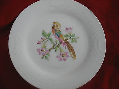 Leigh Potters Leigh Ware Cross-Stitch Cockatoo Design Round Chop Platter