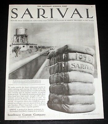 1920 old magazine print ad southwest cotton co sarival finest in