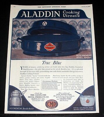 1920 Old Magazine Print Ad, Aladdin Enameled Cooking Utensils, Big Blue Roaster!