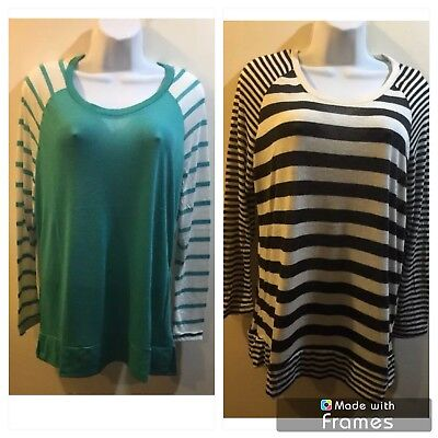Lot Of Two RUE+ 21  WOMEN'S  STRIPED TOP/blouse  Sleeves  Size  XXL#204