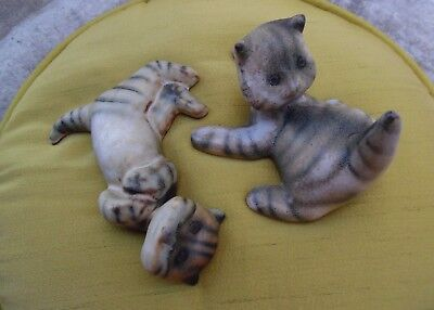 VINTAGE ARABIA FINLAND MICHAEL SCHILKIN FLAT FACE CATS,1950s, LOT OF TWO, RARE