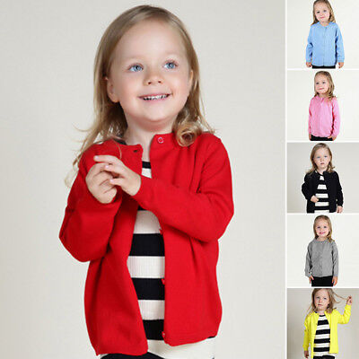 Baby Boy Girls Autumn Knitted Cotton Jacket Sweater Trench Cardigan Coat Outwear