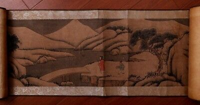 Amazing Long Rare Chinese Landscape Scroll Hand Painting WangHui Marked PP679