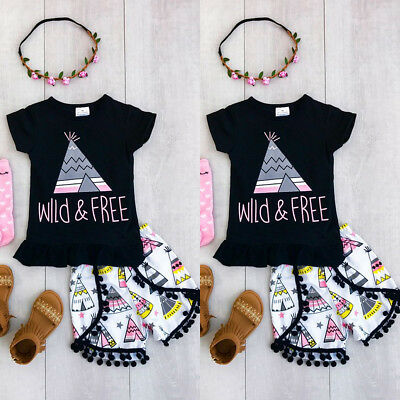 US Stock Newborn Summer Baby T-Shirt Tops Short Sleeve Pants Outfits Clothes Set
