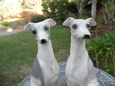 Greyhound Whippet Ceramic Vintage Sculpture Male And Female Lot Of 2