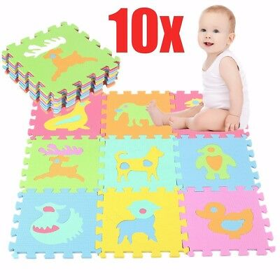Baby Play Mat Foam Floor Animal Puzzle 10 Tiles Kid Toddler Activity Gym Playmat