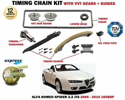 For Alfa Romeo Spider 2.2 Jts 2006-2010 Timing Chain Kit + Vvt Gears + Guide Set