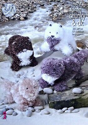 KNITTING PATTERN Tinsel Otter Knitted Stuffed Toys 2 sizes Chunky King Cole 9078