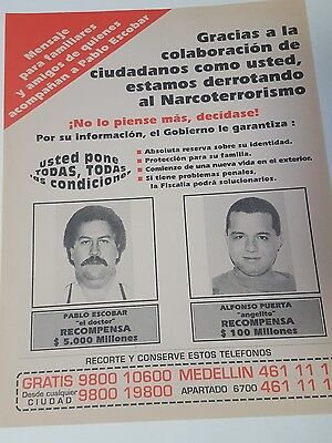 """Pablo Escobar 100% ORIGINAL Wanted Poster (From Colombia) - DEA """"Narcos"""""""