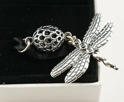 Authentic Pandora Two Tone Silver & 14k Gold Lucky Dragonfly Pendant 390336CZK