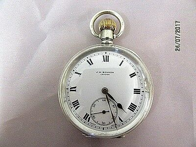 J. W. Benson Silver Pocket Watch, Dennsion Cased
