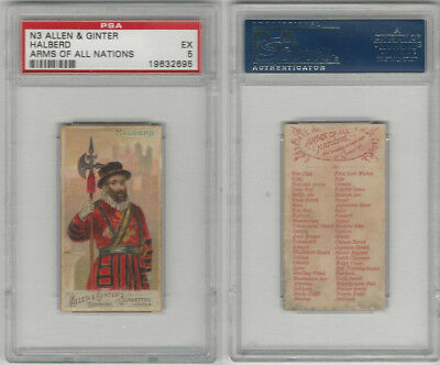 N3 Allen & Ginter, Arms of all Nations, 1887, Halberd, PSA 5 EX