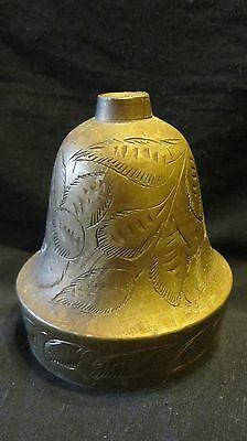 Vintage Brass Bell,Bells of Sarna India 500T,Leaves&Flowers Etched on Sides