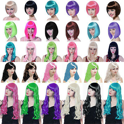 Adult's Bob Long Curl Wigs Colour Cosplay Fancy Dress Costume Accessory Party