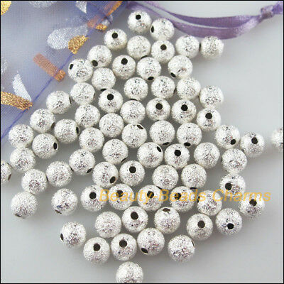 30Pcs Silver Plated Loose Round Ball Copper Brushed Spacer Beads Charms 8mm