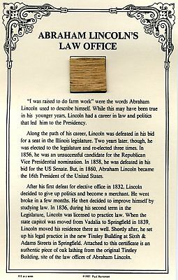 Authentic Piece of Abraham Lincoln's Law Office Site On COA