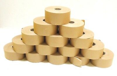 200m x 70mm 15 Rolls Bulk Gummed Paper Brown Paper Wet Tape ( Gum Side In )