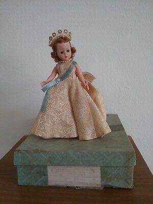 "Vintage  Madame Alexander Cissette Queen Elizabeth 10"" Box 971, Crown, Earrings"