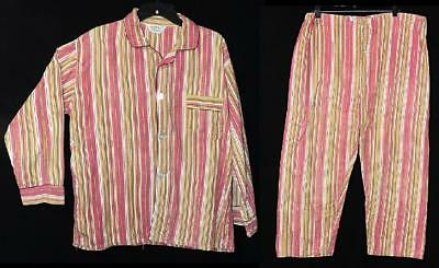 MENS ORIG VTG 40s 50s ROCKABILLY FLANNEL COTTON PINK LIME GRN STRIPE PAJAMAS M L