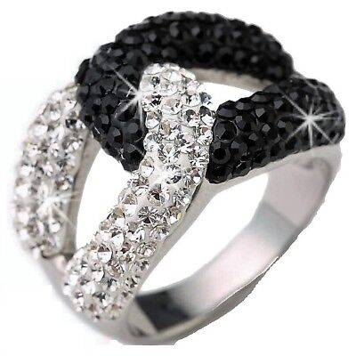 d7a4b1ef5 GLAM Pave Set Black White SWIRL Made with Swarovski Crystal Stainless Steel  Ring