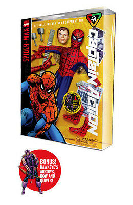 Captain Action Marvel Spider-Man Deluxe costume set with Hawkeye parts NIP