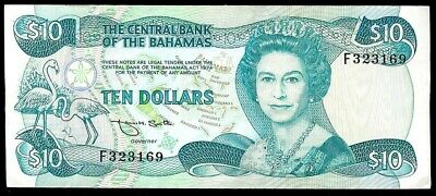 1974 CENTRAL BANK OF THE BAHAMAS $10 DOLLARS NOTE KP #46b CONDITION ABOUT UNC.