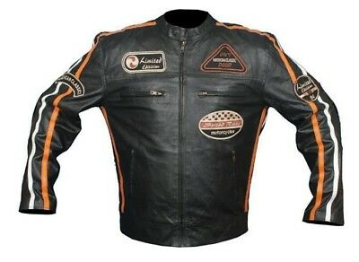 retro biker lederjacke motorrad jacke protektoren. Black Bedroom Furniture Sets. Home Design Ideas
