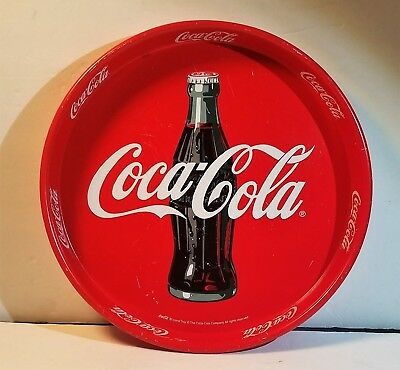 Coca-Cola Tin Serving Tray Sign Advertising - Round, with Bottle Logo