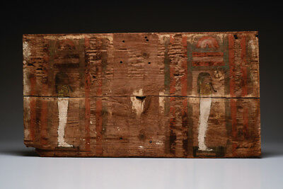 Large Ancient Egyptian Wooden Sarcophagus Panel Late Period, ca. 700-30 B.C.
