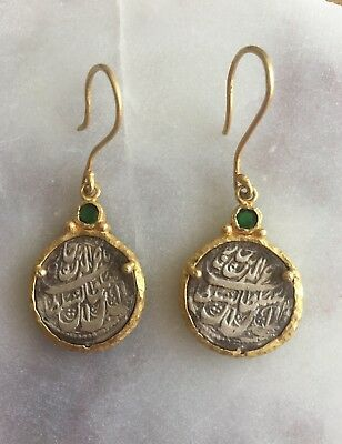 18 ct gold earrings with ancient style coins and green gypsum stone