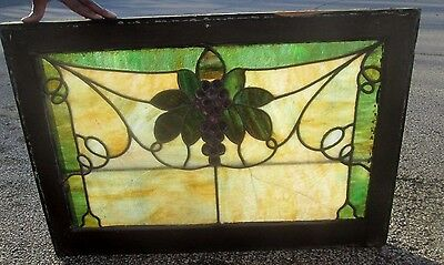 Fine Grape And Leaf Design Antique Stained Glass Transom Window Estate # 606