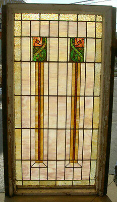 LARGE 36 x 74 GLASGOW ROSE DESIGN STAINED GLASS WINDOW LT. VICTORIAN ESTATE #159