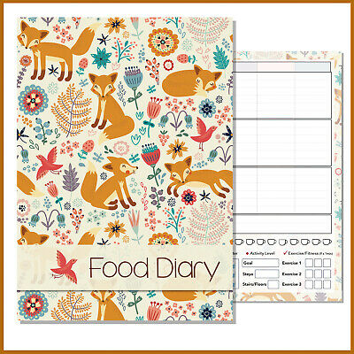 A5 Diet Diary Slimming Weight Loss Tracker Diet Planner Food Journal, Pnk Flower