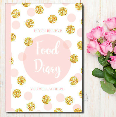 Diet Diary, Slimming Weight Loss Tracker Diet Planner Food Journal, Gold Pink