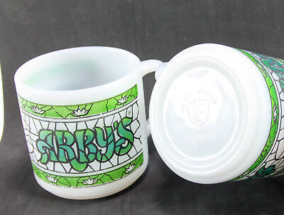 Lot of 2 Milk Glass Arby's 9 oz Coffee Mugs / Cups by Federal Glass Co Vintage