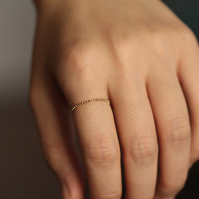14K 18K Solid Gold Ball Chain Ring Soft Ring Stacking Layering Thin Ring Band