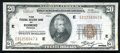 Fr. 1870-E 1929 $20 Frbn Federal Reserve Bank Note Richmond, Va Vf+ (B)