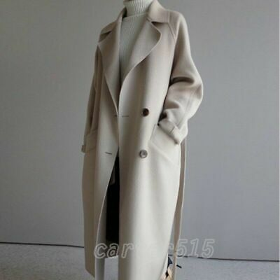 Womens Lapel Collar Cashmere Wool Blend Belt Trench Coat Outwear Oversize Jacket