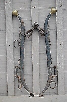 Old Vintage Antique Steel Horse Hames w Brass Ball Knobs Farm Tool Western Decor