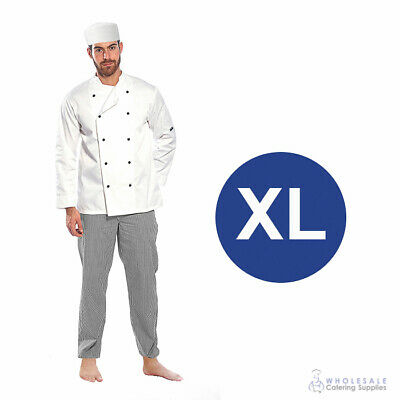 Chef Student Uniform Kit Long Sleeve Coat White Hospitality Cook Extra Large