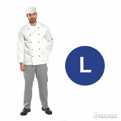 Chef Student Uniform Kit Long Sleeve Coat White with Shoes Cook Kitchen Large