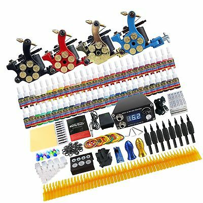 Solong Tattoo Complete Tattoo Kit 4 Pro Machine Guns 54 Inks Power Supply Foo...