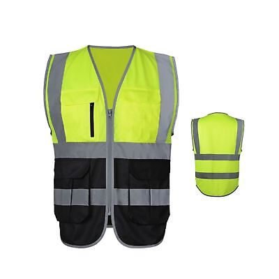 JKSafety 7 Pockets Class 2 High Visibility Zipper Front Safety Vest With Refl...