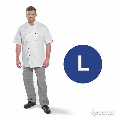 Chef Student Uniform Kit Short Sleeve Coat White With Shoes Cook Kitchen Large