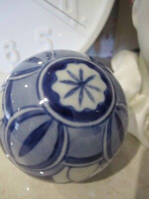 Asian Chinese Blue and White Porcelain Ball