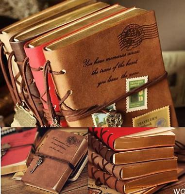 SU AU Retro Classic Vintage Leather Bound Blank Pages Journal Diary Notebook