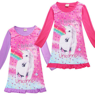 AU STOCK Cute Unicorn Girl Kids Nightie Nightdress Pyjamas Sleepwear Dress 4-10Y