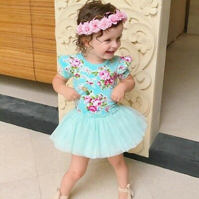 AU Toddler Baby Girls Princess Pageant Skirt Flower Tutu Party Dress