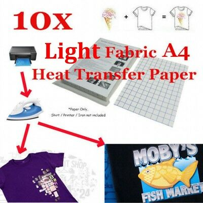 10 Sheet-T-Shirt Inkjet Iron-On Heat Transfer Paper For Dark Fabric A4  US STOCK